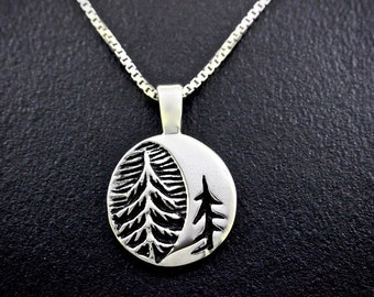 The Moon Through Cedars Necklace, sterling silver, re-purposed sterling silver, recycled silver necklace