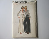 Wrap Blouse Palazzo Pants Butterick 3022 Vintage Sewing Pattern Collar Shirt Wide Leg Trousers Size 8 Bust 31.5 Waist 24