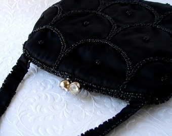 Beautiful Delill Vintage Black Satin Beaded Purse Rhinestone Clasp Jet Glass Bead Handbag Hand Made Formal Handbag Evening Bag Prom Wedding