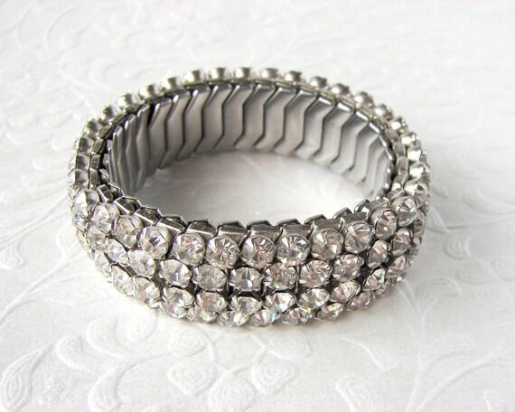 Vintage 1950s Hiraflex 4 Row Rhinestone Expansion Bracelet Stretch Wrist Forearm Made U.S.A. Wedding Bridal Formal Pageant Prom Ballroom