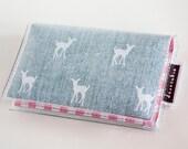 Handmade Vinyl Card Holder - My Dear / card case, vinyl wallet, snap, women's wallet, small wallet, deer wallet, gingham, deers, animal