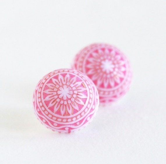 Pink and White Earrings - Post Earrings - Patterned Mosaic Earrings - Vintage Style - Dome Earrings - Gift For Woman