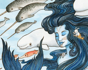 "Sedna Arctic Mermaid Sea Goddess Art Print 11""x14"""
