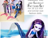 Making Waves Mermaid Tail and Swimsuit Pattern Set for 10 1/2 inch Fashion Dolls