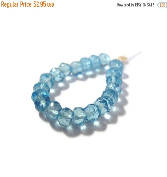 May SALE 20 Swiss Blue Quartz Rondelles, Faceted Gemstone Beads, Necklace Rondelles, Blue Topaz Substitute, Jewelry Supplies (L-Lb2)