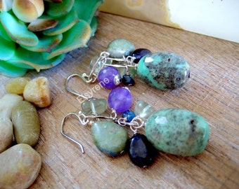 Rustic Cluster multi gem Turquoise Earrings-Multicolor gemstones Earrings-cluster Amethyst,Turquoise Earrings-Silver Artisan Earrings