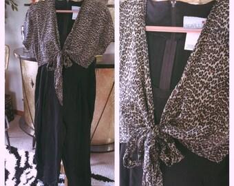 Vintage 1930s style Jumpsuit Leopard Black Dress Pants L XL 1940s