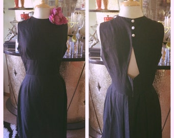 Vintage 1950s Dress black silk cut out pinup 50s M L rockabilly