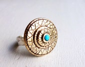 Chameleon Eye - Carved Brass Ring with Hammered Sterling Band and Turquoise