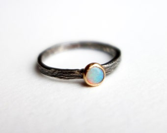 14k Gold and Sterling Silver Genuine Opal Ring