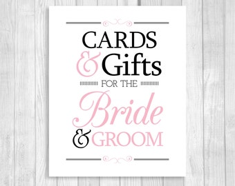 SALE Printable Cards & Gifts for Bride and Groom 8x10 Black and White and Light Pink Card Box Wedding Sign - Instant Download