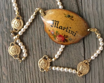 Vintage hand painted martini liquor tag label pearl repurposed statement necklace