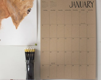 big kraft hanging wall calendar - 16 months | start any month | recycled paper