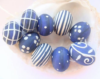 9 Etched Hollow Handmade Lampwork Beads