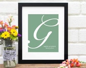 Monogram Wedding Art Print - Custom Initials - Wedding Gifts  : Personalized Bridal Shower Present - Engagement Gifts - Newlyweds - 8x10