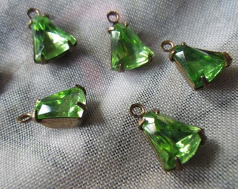 Peridot Green 8mm Vintage Foiled Glass Bell Brass Ox Drops One Loop 6 Pcs