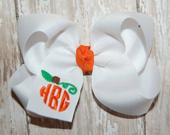 Monogrammed Pumpkin Bow - Monogrammed Fall Bow - Monogram Headband Bow - Baby Bow - Toddler Bow - Personalized Holiday Bow