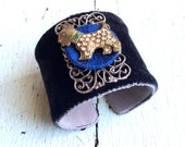 Dog Lover Silk Velvet Adjustable Cuff