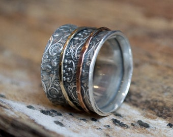 Sterling silver band, rose and yellow gold spinners, meditation ring, two tones ring, spinner ring, wide silver band - A way of life R1209A