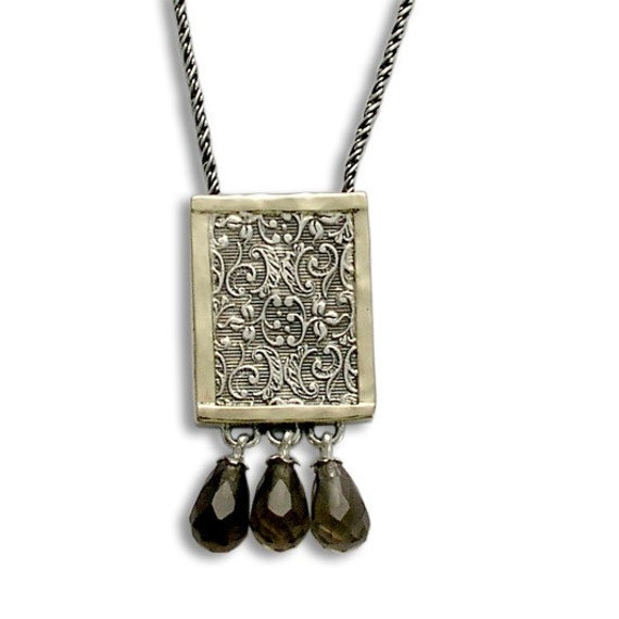 Silver Gold Necklace, Silver Filigree Necklace, Filigree Woodland Necklace, Smoky Quartz Briolette, Square Pendant- Revolving doors N4545