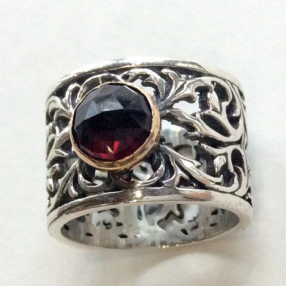 Gemstone ring, engagement ring, wide band, silver band, silver gold ring, garnet ring, stone ring, bohemian jewelry - Let it go R2057
