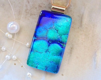 Blue Necklace, Green, Dichroic Glass Pendant, Glass Jewelry, Necklace, Aqua, Necklace Included, A2