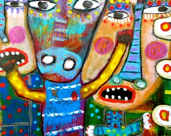 Tracey Ann Finley Original Outsider Raw Brut Paper Painting Naive 18x24 Shaman Release Graffiti Style