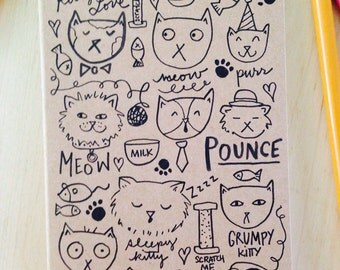 Cat Doodles Mini Kraft Sketchbook Illustrated Cover for Coloring with Hand Lettering OOAK Made to Order
