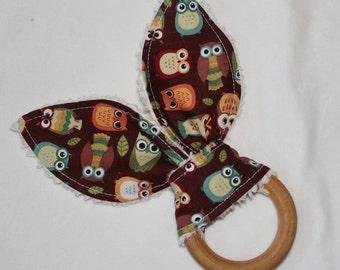 Brown Owls Rabbit Ears Maple Teething Ring