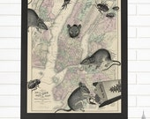 Rats & Roaches, NYC, Vintage New York Map, Lithograph, Wall Map Art