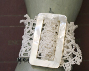 Vintage Lace Wedding Cuff, Lace Bracelet, Vintage Mother of Pearl Buckle
