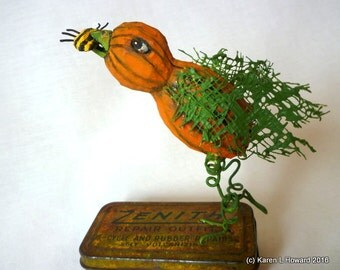 Pumpkin Patch Angel - He Disappears the Pests! Hand Carved in the USA