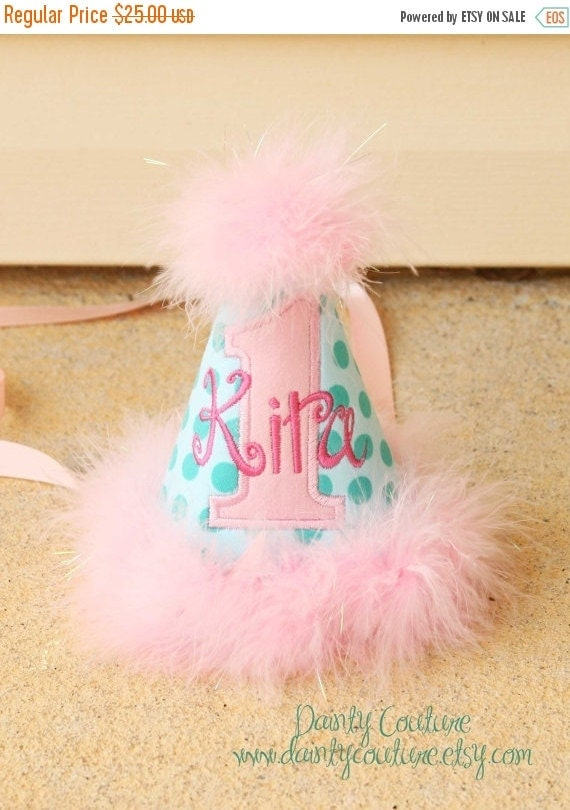 SALE Girls First Birthday Party Hat - Michael Miller Aqua Ta Dot and pinks - Free personalization