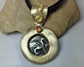 Ancient Greek Coin Pendant, Solid yellow Gold and Sapphire  necklace,  ancient coin jewelry, Heavy Gold Pendant