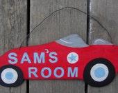 Kids Name Plate Door Sign VINTAGE CAR - Hand Painted Wood Race Car