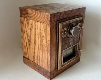 Wooden Oak Safe with Antique Bronze US Post Office Door #41 Bank Combination Lockbox Groomsman 5th 8th Anniversary Postal Retirement Guy Man