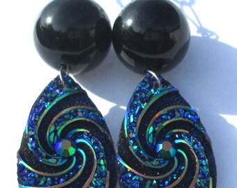 glamorous sparkle rhinestone blue green black aurora borealis teardrop shiny hand made wire wrapped pierced dangle earring