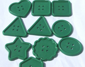 13 jumbo green assorted shapes plastic buttons new destash supplies for crafting and sewing