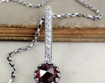 Garnet necklace, Sterling Silver, red gemstone pendant, Medieval style, Birthstone jewelry