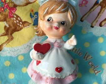 Vintage Valentine's Day.. Little Girl Figurine.. Very Cute!!!