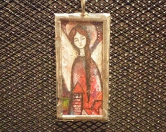 Hand Soldered Religious Pendant Reproduced Watercolor Angel by Artist Zorana