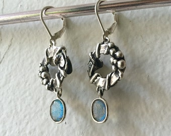 Labradorite and Sterling Silver- Grapevine Earrings