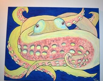 Octopus Hug 16x20 Canvas Painting