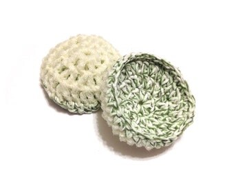 Green Twists Crocheted Cotton And Nylon Netting Dish Scrubbies