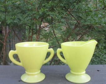 Vintage Glass Sugar Bowl and Creamer - Bright Yellow - Summer Dining