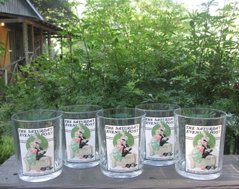 Norman Rockwell Low Ball Glasses - Five Serenade Tumblers - The Saturday Evening Post