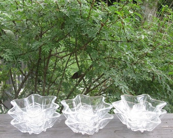 Six Vintage Candle Holders - Clear Glass Stars - Christmas/ Holiday/ Wedding