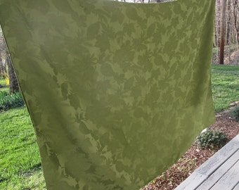 Large Vintage Olive Green Tablecloth - Leafy Damask Synthetic Blend