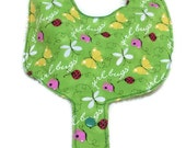 Baby Pacifier Holder Bib Green Ladybug Butterflies  Fabric HANDMADE Add a Name