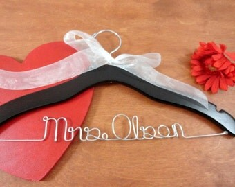 Personalized Bridal Hangers - Last Name Hanger - Bride Dress Hanger - Wedding Coat Hanger - Custom Wedding - Personal Hanger - Wood Hanger